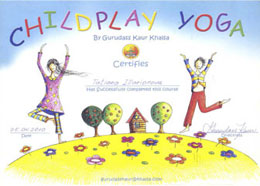 Сертификат ChildPlay Yoga by Gurudass Kaur Khalsa